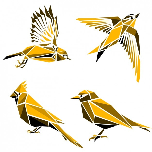 Collection os birds made of polygonal\ shapes