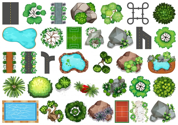 Collection of outdoor nature themed objects and plant elements Free Vector