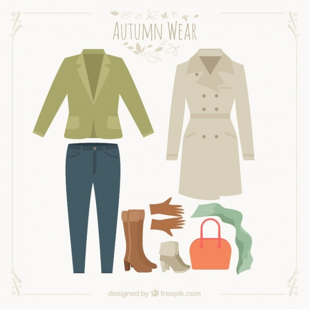 Collection of outfit for autumn Free Vector