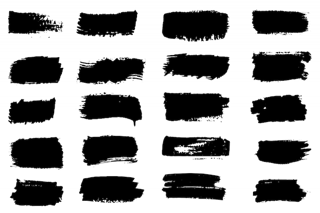 Collection of paint strokes Premium Vector