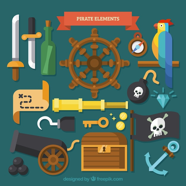 Collection of parrot with pirate elements in flat design Free Vector