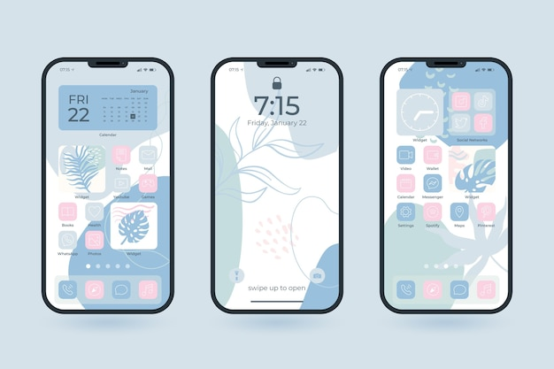 Collection of pastel home screens Free Vector
