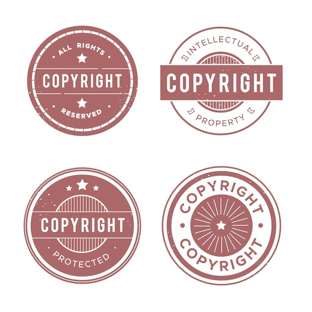 Collection of pastel red copyright stamps Free Vector