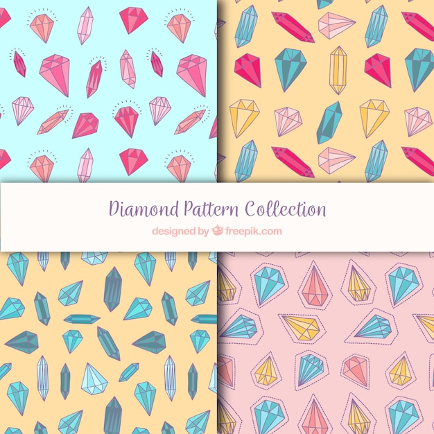 Collection of patterns with diamonds in different colors Free Vector