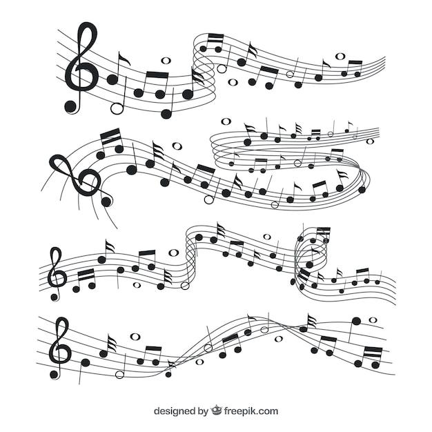 Raccolta di pentagramma con note musicali nere Vettore gratuito