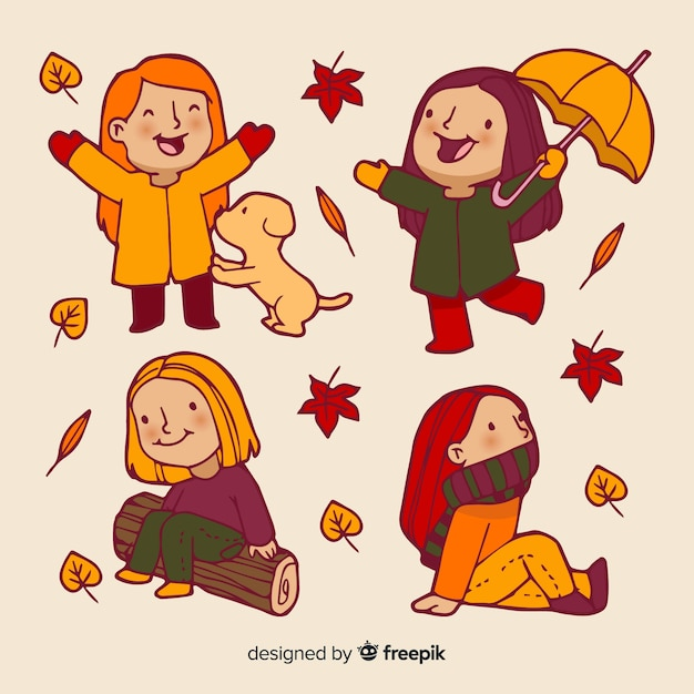 Collection of people in the autumn park Free Vector