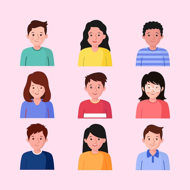 Collection of people avatars Free Vector