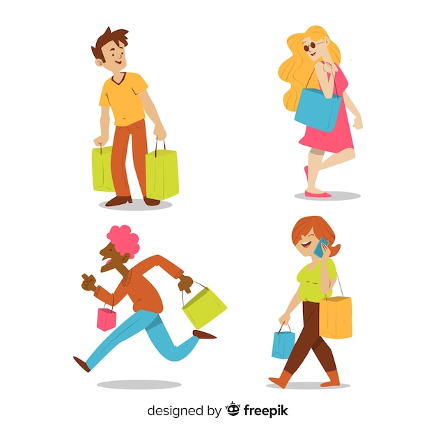 Collection of people carrying shopping bags Free Vector
