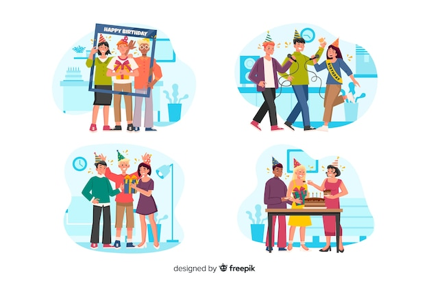 Collection of people celebrating birthdays Free Vector