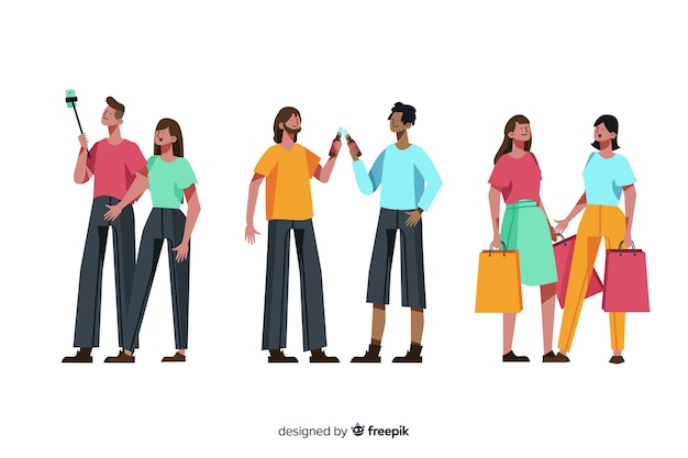 Collection of people celebrating friendship day Free Vector