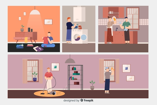 Collection of people cleaning the house Free Vector