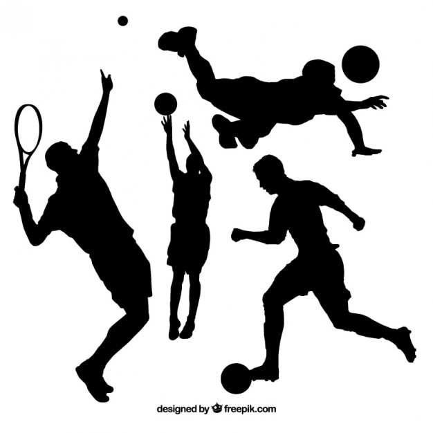 Collection of people doing sport silhouette Free Vector