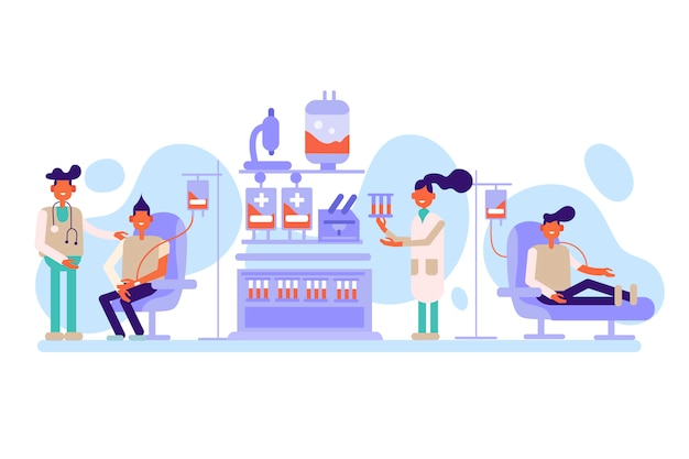 Collection of people donating blood Free Vector