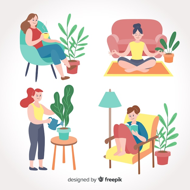 Collection of people enjoying their free time Free Vector