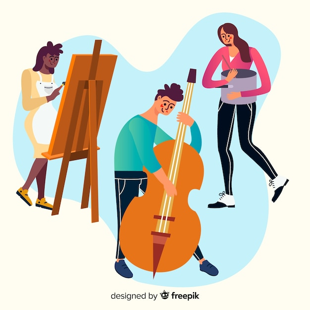 Collection of people enjoying their hobbies Free Vector