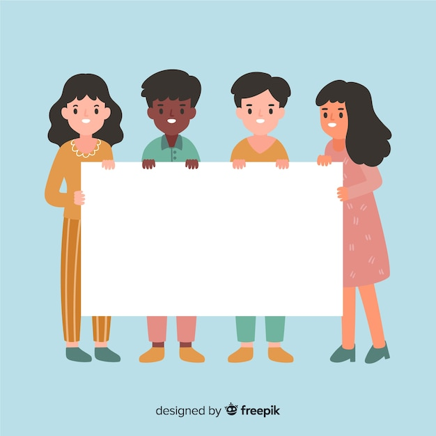 Collection of people holding blank banner Free Vector