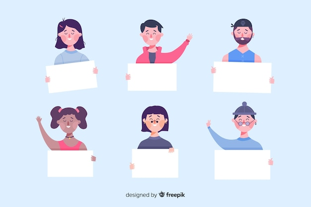 Collection of people holding empty banners Free Vector