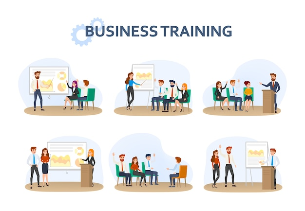 Collection of people making a business presentation Premium Vector