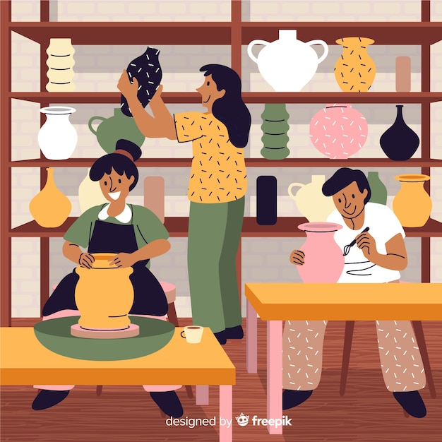 Collection of people making pottery Free Vector