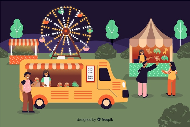 Collection of people at night fair Free Vector