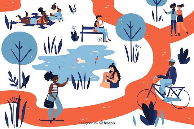 Collection of people in the park Free Vector