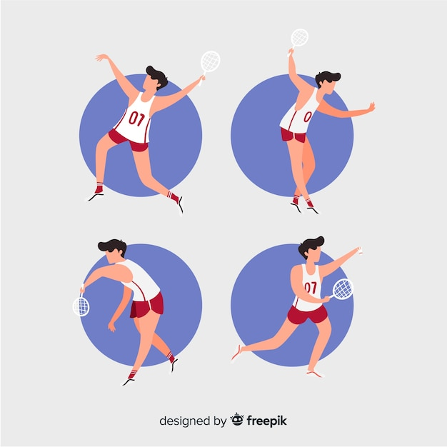 Collection of people playing badminton Free Vector