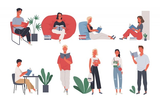 Collection of people reading or students studying. Premium Vector