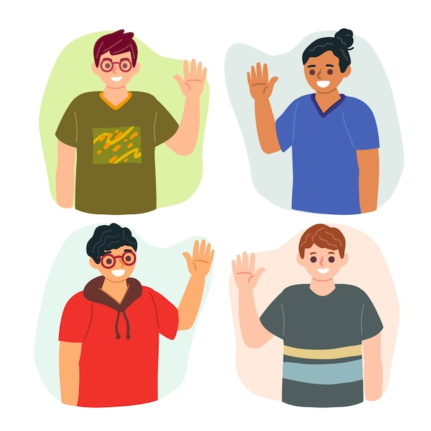 Collection of people waving hand Free Vector