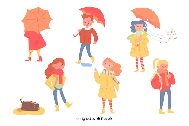 Collection of people wearing autumn clothes Free Vector