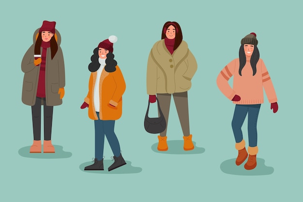 Raccolta di persone che indossano abiti accoglienti in inverno Vettore gratuito