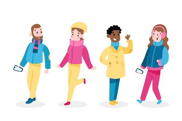 Collection of people wearing winter clothes Free Vector