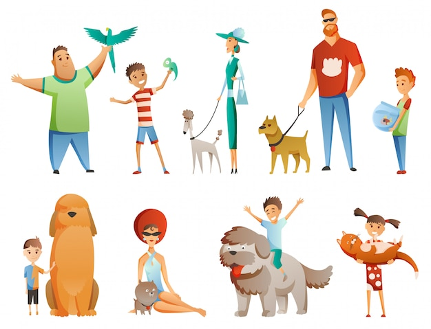 Collection of people with pets isolated on white Premium Vector