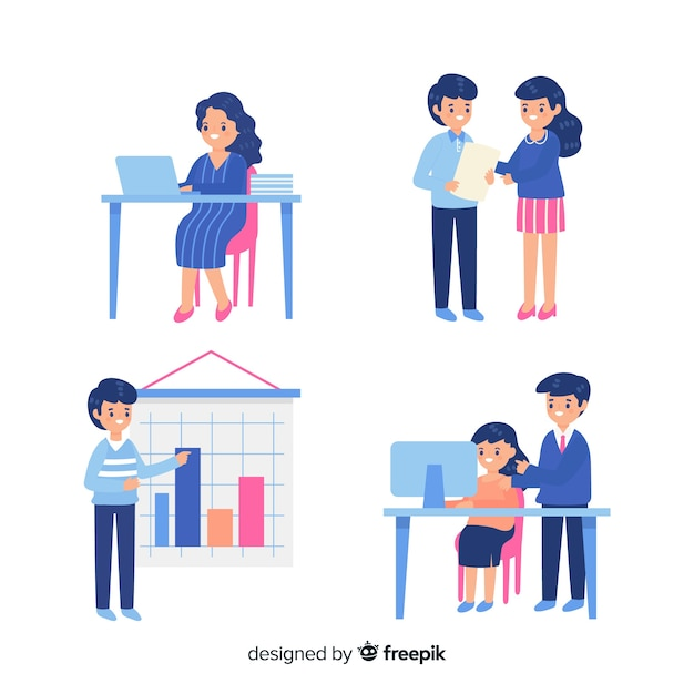 Collection of people working at the office Free Vector