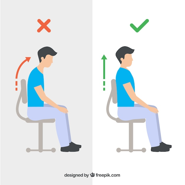 Collection of person seated correctly and incorrectly Premium Vector