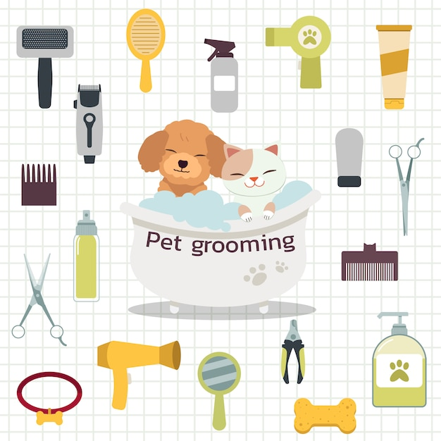 The collection of pet grooming tool with poodle dog and cute cat in the bath with flat   style. Premium Vector
