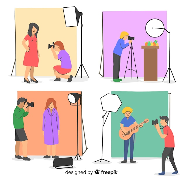 Collection of photographers working illustrated Free Vector