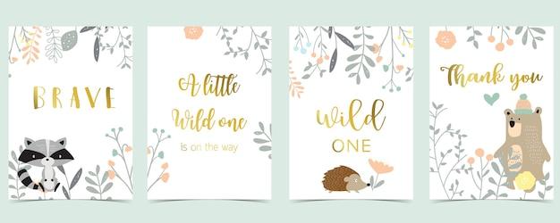 Postcard Congratulations Card Boho Bear with Feathers
