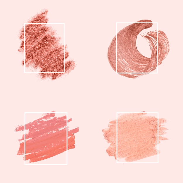 Collection of pink brush strokes Free Vector