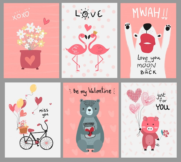 Collection of pink love card flat vector Premium Vector