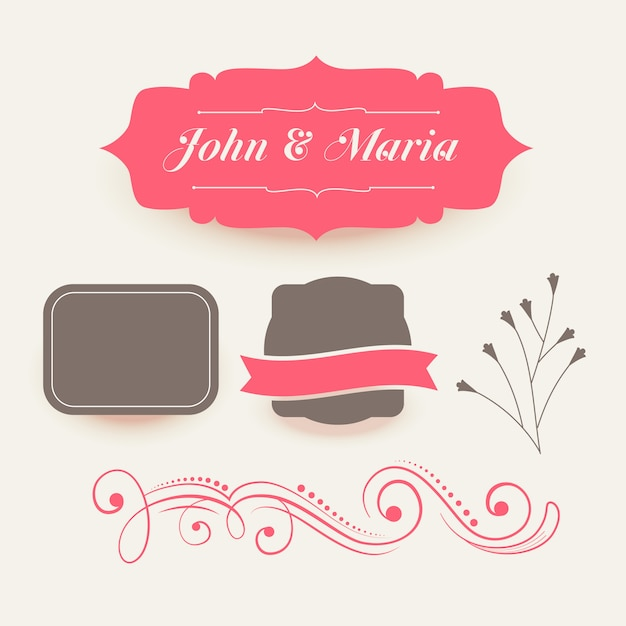 Collection of pink wedding decoration elements Free Vector