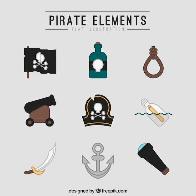 Collection of pirate elements in flat design Free Vector
