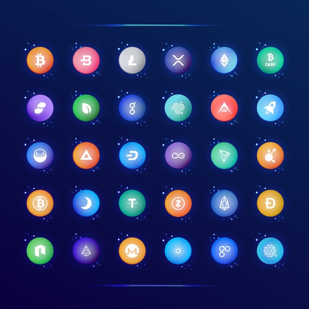 Collection of popular crypto currency icons Premium Vector