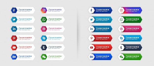 Collection of popular social media lower third Free Vector