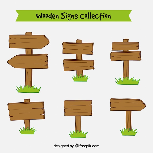 Collection of posters made of wood Free Vector