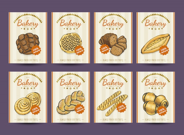 Collection of posters with various bakery products Premium Vector