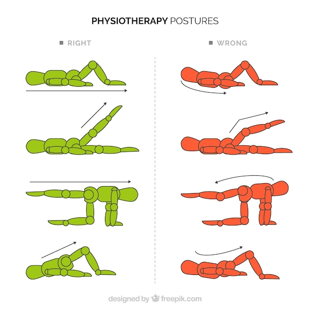 Collection of postural corrections Premium Vector