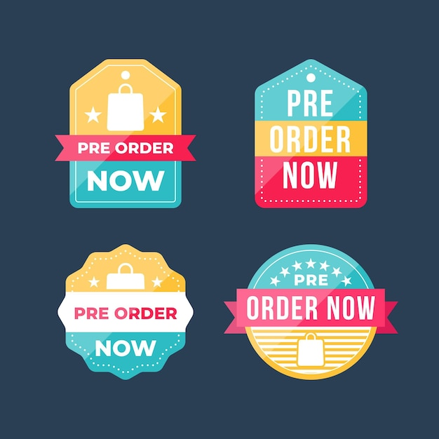Collection of pre-order label with ribbon Premium Vector