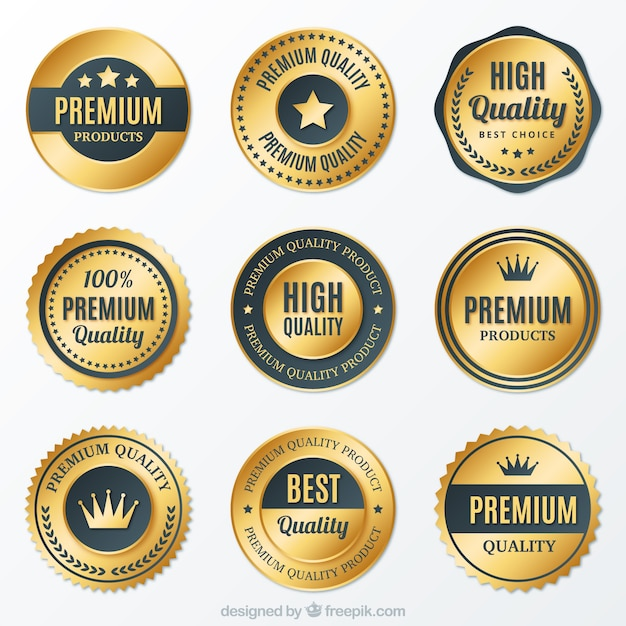 Collection of premium golden round badges Free Vector