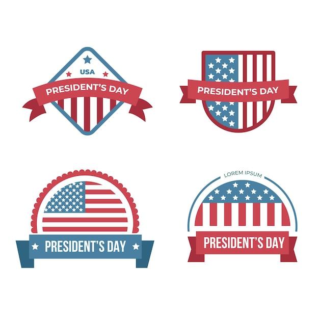 Raccolta di etichette per eventi del giorno del presidente Vettore gratuito