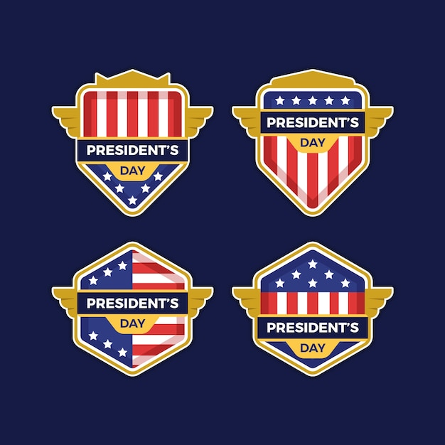 Collection of president's day labels Free Vector